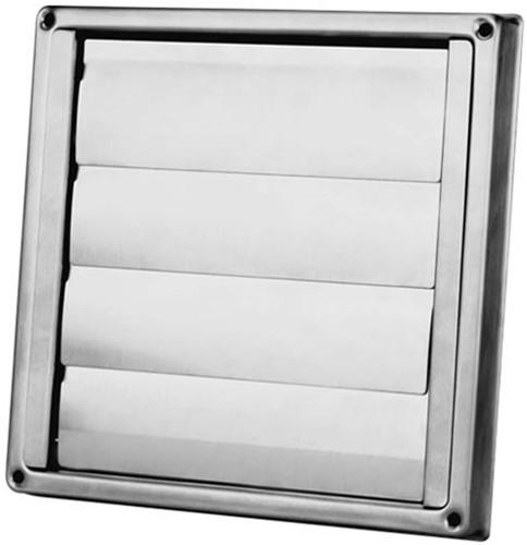 RVS gevelrooster Ø 100 mm met beweegbare lamellen (hoge doorlaat) - D5100100 (D5100100)