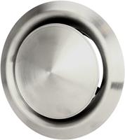 RVS ventilatie toevoer en afvoer ventiel Ø 100 mm met montagebus - DVI100-1