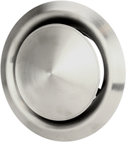 RVS ventilatie toevoer en afvoer ventiel Ø 125 mm met montagebus - DVI125-1