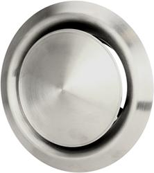 RVS ventilatie toevoer en afvoer ventiel Ø 125 mm met montagebus - DVI125