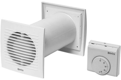 Ventilator Ø128 mm Wit met thermostaat - SPKT125