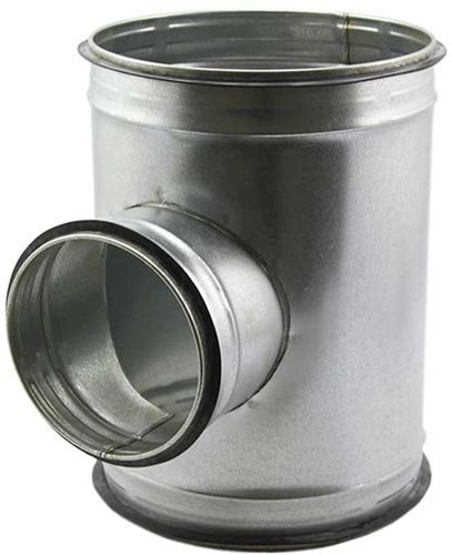 T-stuk diameter 125 mm met aftakking naar 125 mm voor spirobuis (90 graden)