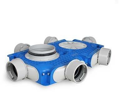 Vent-Axia Uniflexplus ventilatie hoofdverdeelbox 6x Ø90mm met tuit Ø125mm