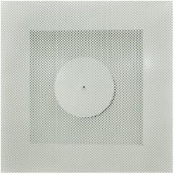 Vierkant rooster geperforeerd 125 mm voor systeemplafond - zijaansluiting