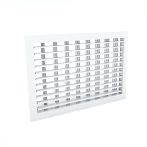 Wandrooster 400x150 staal met schroefbevestiging en dubbel instelbare schoepen - mengkleur RAL 9003