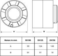 Werktekening maatvoering kunststof buisventilator Europlast
