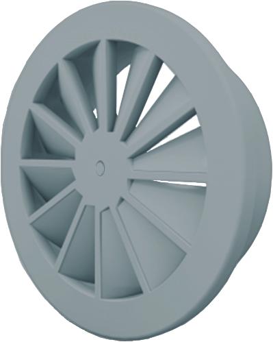 Wervelrooster 160 mm met schroefbevestiging en bovenaansluiting van 125 mm - mengkleur RAL 7001