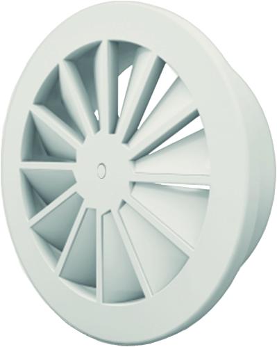 Wervelrooster 160 mm met geïsoleerd plenum, schroefbevestiging en zijaansluiting 125  - mengkleur RAL 9003