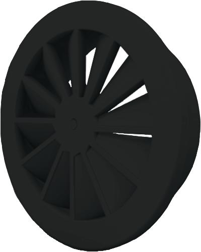 Wervelrooster 250 mm met geïsoleerd plenum, schroefbevestiging en zijaansluiting 200 - mengkleur RAL 9005