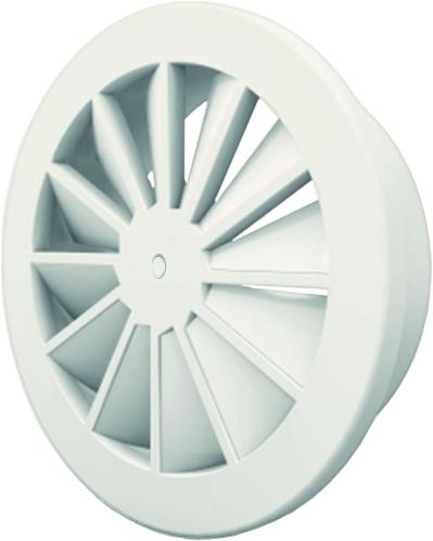 Wervelrooster 250 mm met geïsoleerd plenum, schroefbevestiging en zijaansluiting 200 - mengkleur RAL 9016