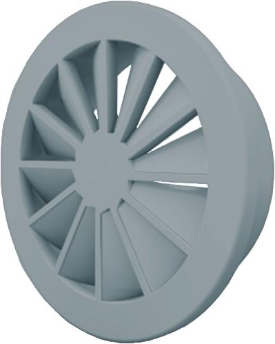 Wervelrooster 160 mm met bovenaansluiting van 125 mm - mengkleur RAL 7001