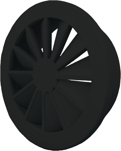 Wervelrooster 200 mm met geïsoleerd plenum en zijaansluiting 160 mm  - mengkleur RAL 9005