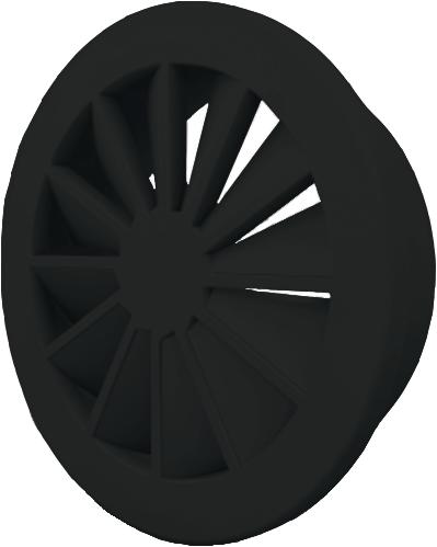 Wervelrooster 250 mm met bovenaansluiting van 200 mm - mengkleur RAL 9005