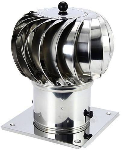 Windgedreven dakventilator Cowl 250 mm RVS inclusief plakplaat - 180m3/h