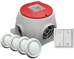 Zehnder Stork alles-in-een pakket Comfofan S R ventilator euro stekker + RFT zender + 4 ventielen